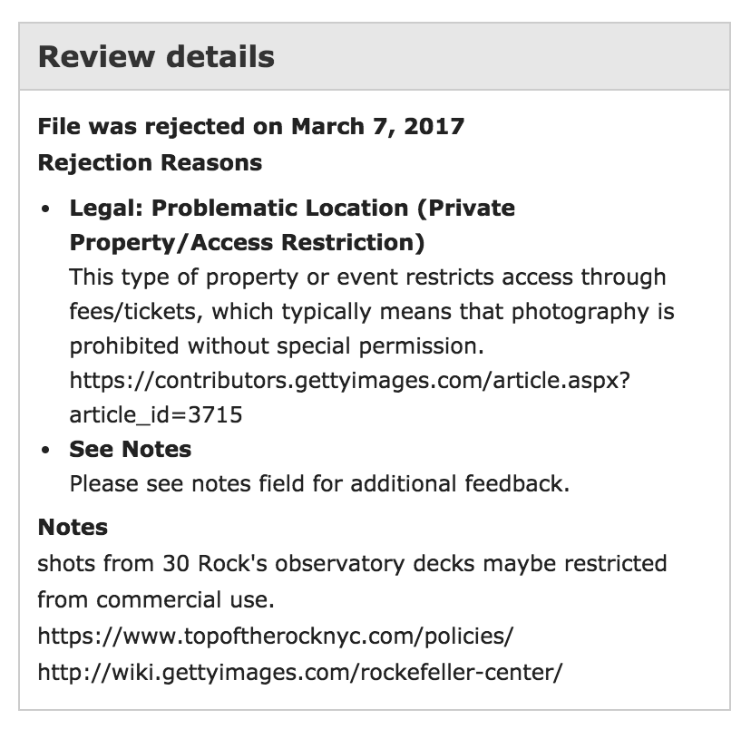 getty rejection